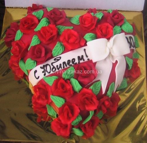Юбилейный торт в форме сердца - №54