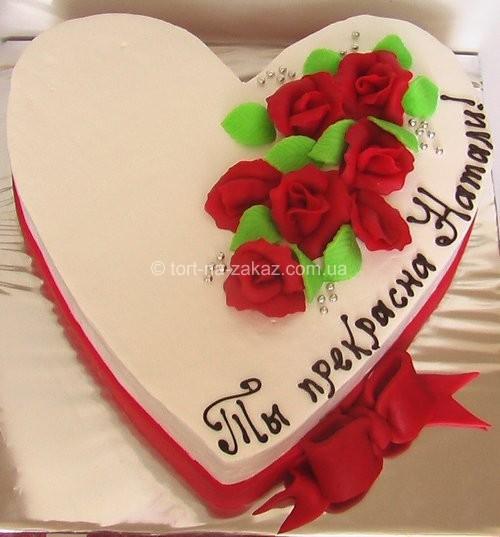 Праздничный торт в форме сердца - №31