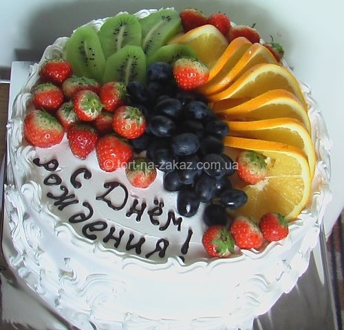 Торт со сливками и фруктами - №22
