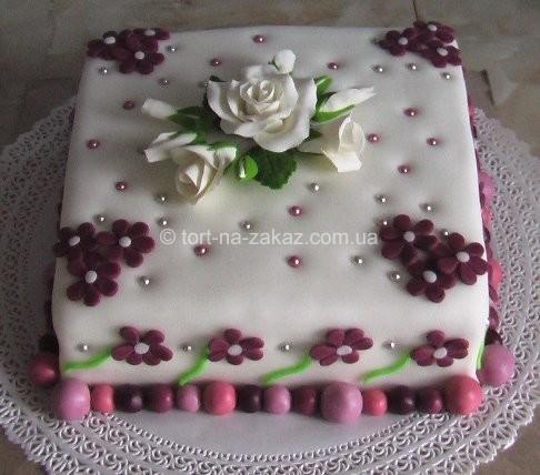Праздничный торт с цветами - №19