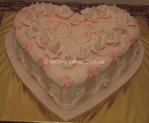 Торт в форме сердца на юбилей - №11