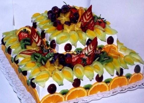 Торт украшенный фруктами - №4