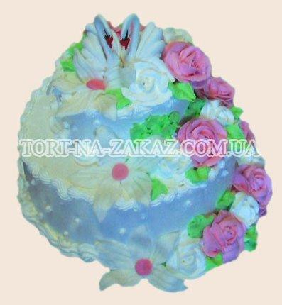 Торт с розами и лебедями - №6