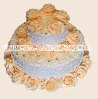 Свадебный торт с розами - №9