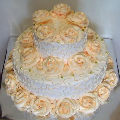 Весільний торт з трояндами - №9
