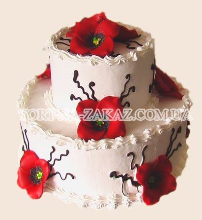 Двухъярусный торт с маками - №12