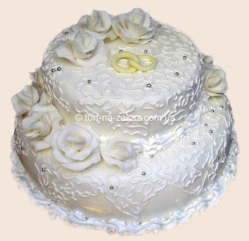 Білий весільний торт - №17