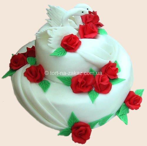 Свадебный торт с цветами - №20