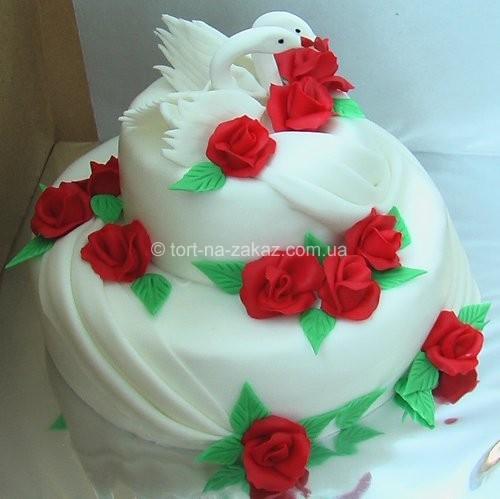 Весільний торт з квітами - №20