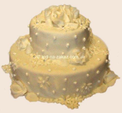 Бисквитный свадебный торт - №22