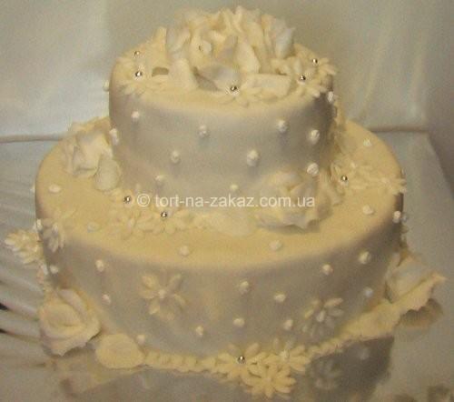 Бісквітний весільний торт - №22