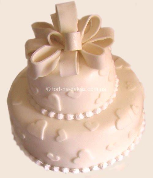 Торт свадебный с бантом - №25