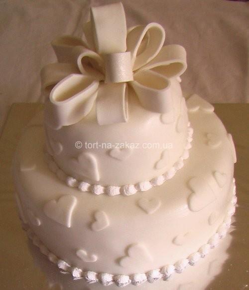 Торт весільний з бантом - №25