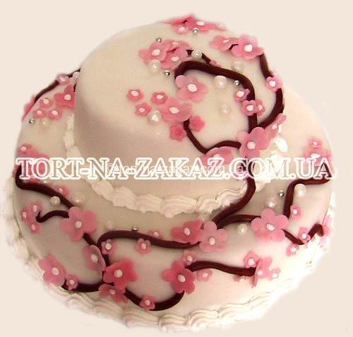 Двухъярусный свадебный торт - №27