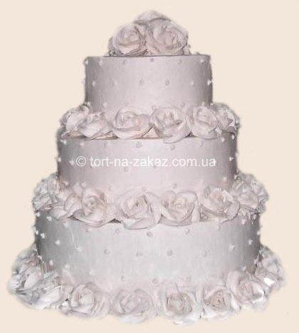 Белый свадебный торт - №28