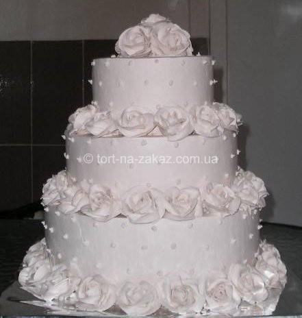 Білий весільний торт - №28