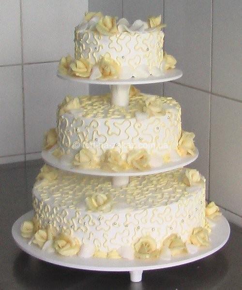 Весільний торт на підставці - №36