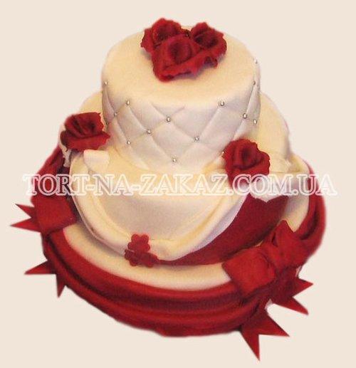 Трехъярусный свадебный торт - №51