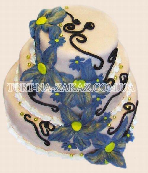 Свадебный торт с лилиями - №52