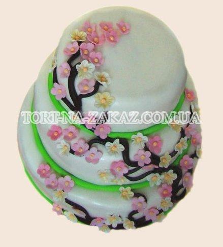 Цветы сакуры на свадебном торте - №54