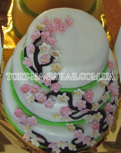 Квіти сакури на весільному торті - №54