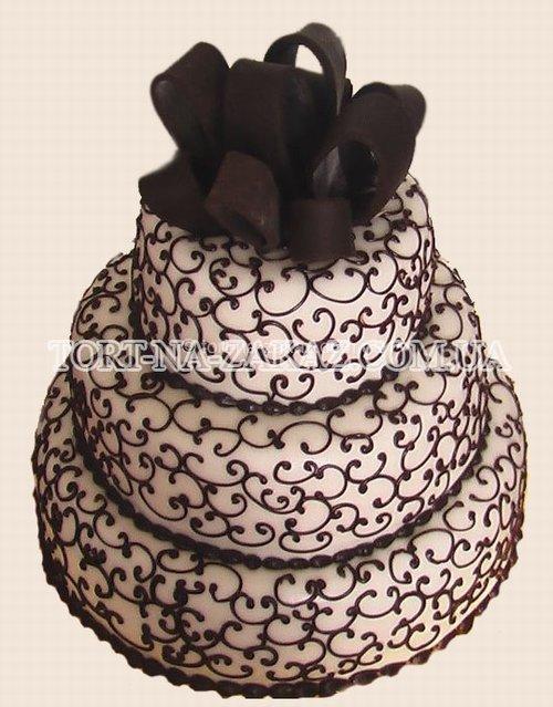 Свадебный торт с бантом - №60