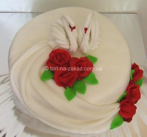 Весільний торт одноярусний - №1